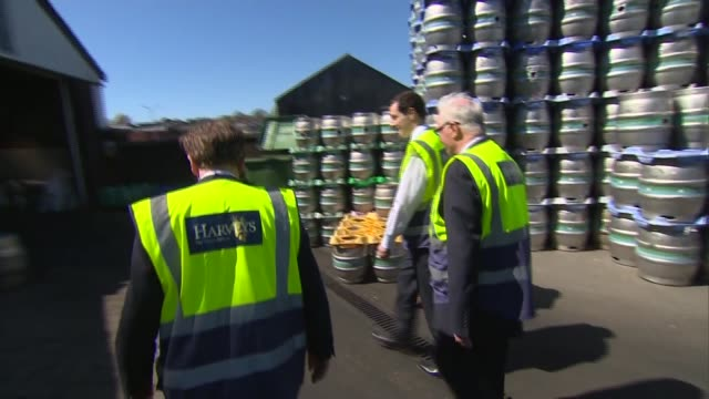 George Osborne visits Harveys Brewery in Lewes ENGLAND East Sussex Lewes EXT Harveys Brewery buildings / fork lift truck and kegs / Maria Caulfield...