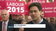 ITV Leaders' Debate 'day after' analysis and campaigning Blackpool EXT Ed Milband and his wife Justine Thornton cheered by Labour supporters as along...