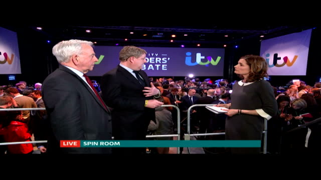 ITV Leaders' Debate ENGLAND INT Reporter to camera in the Spin Room SOT Angus robertson SOT the most important thing is what the viewers at home...