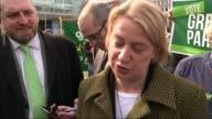 ITV Leaders' Debate Preparations Natalie Bennett along Natalie Bennett speaking to press SOT It's very obvious that Leanne Wood and Nicola Sturgeon...