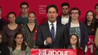 Labour Ed Miliband speech in Colne ENGLAND Lancashire Pendle Colne PHOTOGRAPHY*** Labour Party supporters waiting on platform applauding and cheering...
