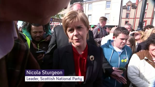 Labour's Jim Murphy targeted by protesters during Glasgow walkabout with Eddie Izzard Largs Nicola Sturgeon interview SOT that protest has nothing to...