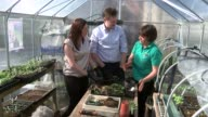Liberal Democrats Nick Clegg at mental heath charity in Powys INT Clegg and Dodds potting plants in greenhouse / potting tomato plants Clegg chatting...
