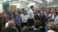 Low growth figures / impact on General Election ENGLAND London Enfield Kelvin Hughes Limited INT Various of David Cameron speaking to workers on...