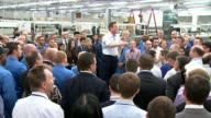 Low growth figures / impact on General Election Enfield Kelvin Hughes Voltage David Cameron speech to Kelvin Hughes Voltage factory workers SOT as...