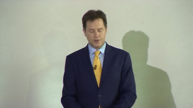 Nick Clegg resigns as Liberal Democrats leader ENGLAND London PHOTOGRAPHY** Nick Clegg MP arriving to applause and cheers SOT / Nick Clegg MP speech...