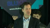 Nick Clegg speech warning of 'Blukip' coalition ENGLAND Greater Manchester Cheadle INT Man introduces Nick Clegg to audience Lib Dem supporters in...