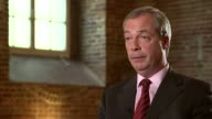 Nigel Farage interview ENGLAND London INT Reporter Jon Snow and Nigel Farage sitting together before interview Nigel Farage interview SOT Talks of...