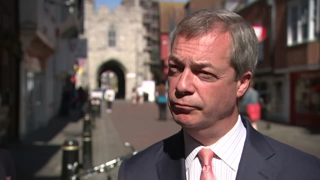 Nigel Farage visits Canterbury ENGLAND Kent Canterbury EXT **Please note swear word shouted in background during this interview** Nigel Farage...