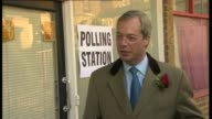 Polling day / party leaders cast their votes Kent Thanet South Nigel Farage from polling station jokes to press photographers 'it was a very tough...