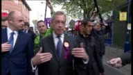UKIP Nigel Farage campaigning in Ramsgate Nigel Farage interview SOT I held a big public meeting GVs man asking questions and Farage walking off to...