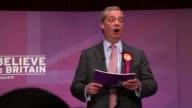 UKIP Nigel Farage speech Farage speech SOT don't want European Union on my passport I don't want that flag I don't want that anthem don't want...