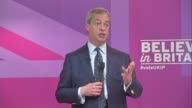 UKIP Nigel Farage speech Farage speech SOT Anyone from overseas should bring their own health insurance with them / Ed Miliband tweeted that my...
