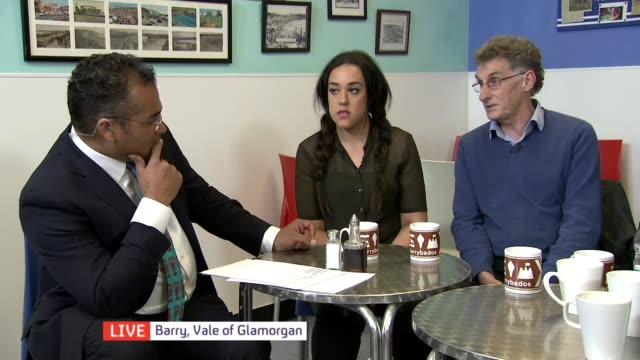 Wales campaign WALES Vale of Glamorgan Barry INT Mel Owen interview SOT Group of voters taking part in discussion about how well various parties are...