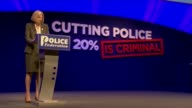 A portrait of the Prime Minister what drives Theresa May T16051244 / TX Dorset Bournemouth Police Federation Conference Members of audience laughing...