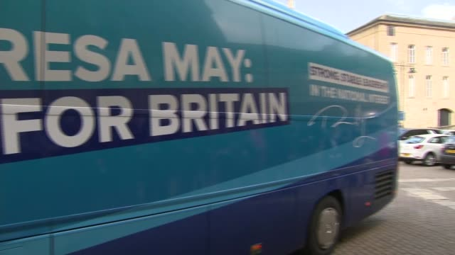 Conservatives launch manifesto arrivals ENGLAND West Yorkshire Halifax EXT Conservative battle bus arrives / Departures from bus Amber Rudd Justine...
