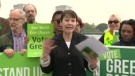 Green Party campaign launch Caroline Lucas speech SOT / Lucas posing with manifesto / Caroline Lucas interview SOT on leaked Labour manifesto and...
