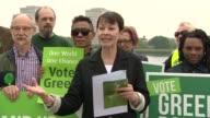 Green Party campaign launch ENGLAND London Hackney Woodberry Wetlands EXT Caroline Lucas speech SOT