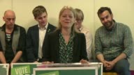 Green Party manifesto launch ENGLAND London Soho INT Green Party politician Sian Berry and Green Party CoLeaders Caroline Lucas and Jonathan Bartley...