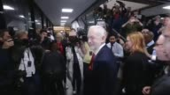 Hung parliament Theresa May to form new government Islington INT Jeremy Corbyn along past press scrum as arriving for Islington North declaration/...