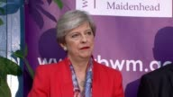 Hung parliament Theresa May to form new government Maidenhead INT Theresa May standing on stage at her constituency declaration