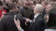 Hung parliament Unexpectedly strong Labour showing TX Shropshire Telford Jeremy Corbyn along through crowd of supporters and shaking hands as man...