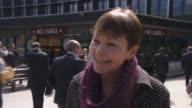ITV Leaders' Debate buildup Caroline Lucas interview ENGLAND London Euston Station EXT Caroline Lucas interview SOT