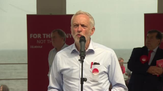 Jeremy Corbyn and John Prescott in Scarborough Jeremy Corbyn speech SOT educational maintenance allowance university tuition fees