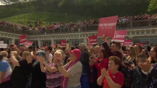 Jeremy Corbyn and John Prescott in Scarborough ENGLAND North Yorkshire Scarborough EXT Jeremy Corbyn and John Prescott arriving with others / Jeremy...