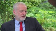 Jeremy Corbyn interview Basildon EXT Jeremy Corbyn and ITV News reporter through garden ahead of interview/ Jeremy Corbyn interview SOT [re...