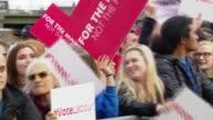 Jeremy Corbyn rally in Birmingham ENGLAND Birmingham EXT Corbyn supporters in crowd / Steve Coogan speech SOT