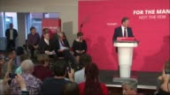 Jeremy Corbyn speech ENGLAND Essex Basildon INT Jeremy Corbyn into room with Shadow Home Secretary Emily Thornberry and others [applause] / Opening...