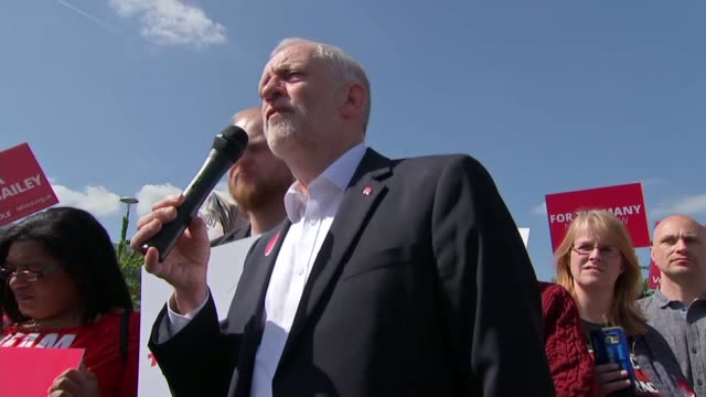 Labour Jeremy Corbyn campaign rally in Salford Jeremy Corbyn speech continued SOT / Corbyn along through supporters and into battle bus / battle bus...