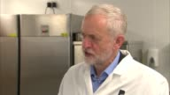 Labour Jeremy Corbyn campaigning in Leeds ENGLAND West Yorkshire Leeds Leeds City College INT Jeremy Corbyn along after speech with students taking...