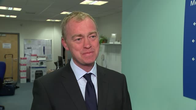 Liberal Democrats Tim Farron interview on averting a massive Tory majority ENGLAND London Vauxhall Riverside Health Centre INT Tim Farron interview...