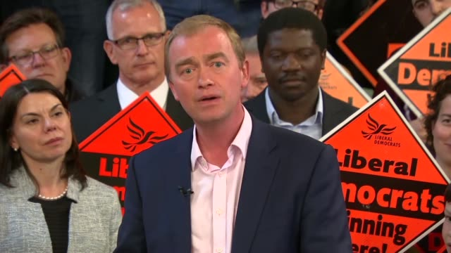 Liberal Democrats Tim Farron speech to party workers in Vauxhall ENGLAND London Vauxhall INT Tim Farron MP along and photocall with supporters / SOT...