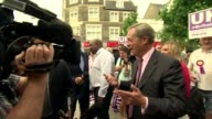 Nigel Farage in Clacton ENGLAND Essex ClactononSea EXT Nigel Farage MEP arrival and chatting with locals Nigel Farage MEP interview SOT Nigel Farage...