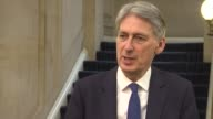 Philip Hammond on Labour 'black hole' ENGLAND London Westminster INT Philip Hammond interview SOT on alleged 'black hole' in the finances of the...