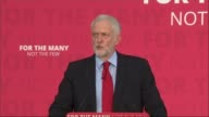 Theresa May and Jeremy Corbyn clash over Brexit Basildon INT Jeremy Corbyn cheered by audience as into Labour rally and to stage CUTAWAYs of Jeremy...