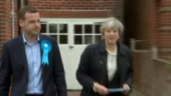 Theresa May campaigning in Southampton ENGLAND Hampshire Southampton EXT Theresa May MP knocking on doors with local candidate and chatting with...