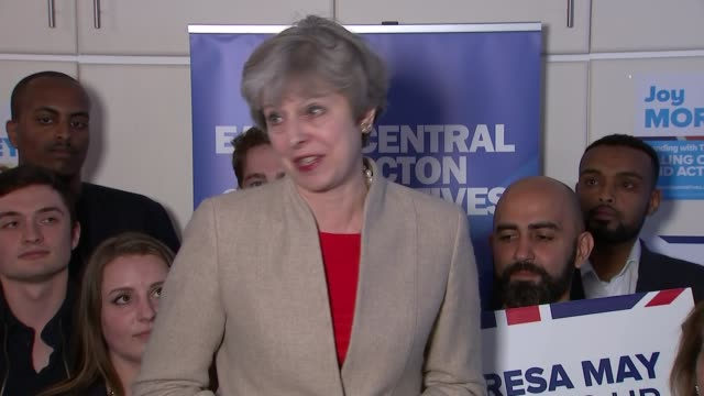 Theresa May in Ealing ENGLAND London Ealing INT Tory activists waiting Joy Morrissey introduction SOT Theresa May speech SOT re Brexit defence and...