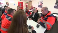 Theresa May meets workers in Scunthorpe ENGLAND North Lincolnshire Scunthorpe INT Various shots Theresa May speaking to British Steel workers
