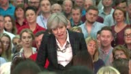 Theresa May question and answer session in Mansfield Theresa May question and answer session SOT re NHS AE waiting times Sherwood Forest and fracking...