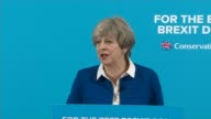 Theresa May suggests Jeremy Corbyn will be 'alone and naked' in EU negotiations INT Theresa May speech SOT European Union adopting aggressive...