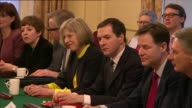 Theresa May suggests Jeremy Corbyn will be 'alone and naked' in EU negotiations LIB / London Downing Street Theresa May seated with George Osborne...
