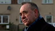 Alex Salmond campaigning in Scotland EXT Alex Salmond MSP interview SOT Christine Jardine campaigning handing out leaflets / Jardine along and...