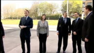 Gordon Borwn and Lord Mandelson visit Siemens in Manchester ENGLAND Manchester Siemens EXT Gordon Brown MP out of car and greeted by Siemens staff...