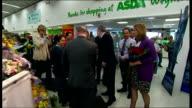 Gordon Brown visits Asda supermarket ENGLAND Dorset Weymouth INT Gordon Brown MP touring Asda supermarket with Jim Knight MP Gordon Brown and Sarah...