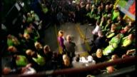 Gordon Brown visits Asda supermarket Gordon Brown meeting Asda staff in stockroom area/ high angle shots of Gordon Brown speech to Asda staff