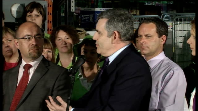Gordon Brown visits Asda supermarket Gordon Brown speech to Asda staff SOT Real pleasure to be here with Jim Knight who does so much for the local...